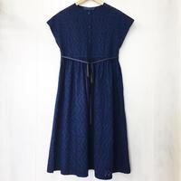 indigo-dyed raglan sleeve gathered op / 03-8305005