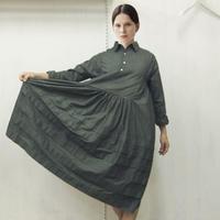Pintuck Gathered Shirt Dress / 03-9205003
