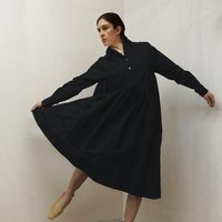 Gathered Shirt Dress / Black