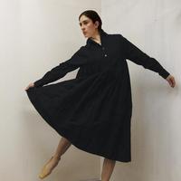 Gathered Shirt Dress / Black