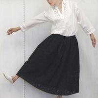 Geometric Eyelet Skirt / Black