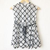 sleeveless gathered peplum blouse / 03-7308004