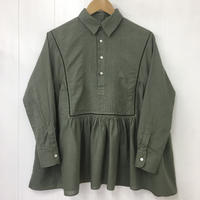 Pintuck Gathered Top / Khaki Green