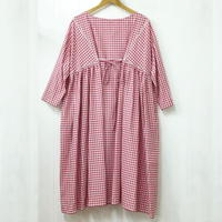Boat Neck Dress / Red × White
