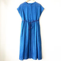 indigo-dyed raglan sleeve gathered op / 03-8105004