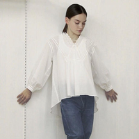 V-Neck Gathered Top / Off White