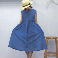 indigo-dyed sleeveless gathered op / 03-8105005