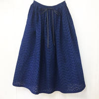 indigo-dyed gathered skirt / 03-9107002