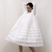 Pintuck Gathered Shirt Dress / Off White