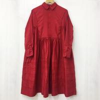 Pintuck Gathered Shirt Dress / Red