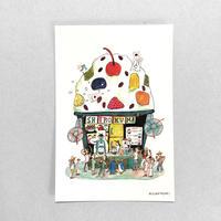 36 POST CARD|シロクマ一家のかき氷屋さん