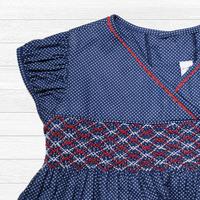 和風ドット柄のスモッキング刺繍ワンピース(95-100cm)