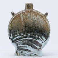 No.70:YOHEN SHINO Rectungular Vase「耀変志埜扁壷 (タイコ)」