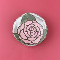 桃色バラ 豆皿