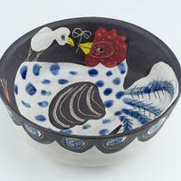 ニワトリ鉄絵 浅鉢