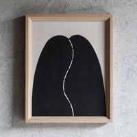 nude 4 和紙に型染 額絵