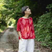 ドルマンシャツ|祈りの葉|型染の服 2021 夏