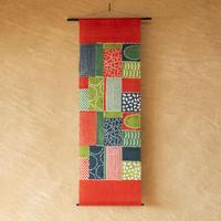 麻タペストリー|民布Ⅱ 赤緑