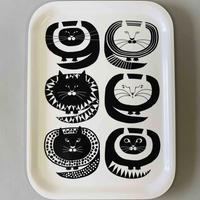 L OTTAデザイン 白黒猫 木製(白樺)トレイ