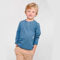 オーガニックコットン:Ebbe(エッベ)Harald grandpa グランパシャツ(ブルー)