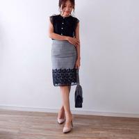 グレンチェック裾レースタイトスカート