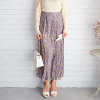 花柄プリーツスカート//3colors