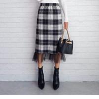 再入荷⭐︎チェック柄裾チュールタイトスカート