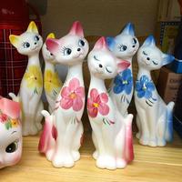 昔ながらの ペアキャット 置物 お花 Made in Japan Cat pair