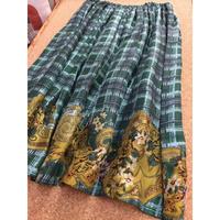SALE スカート タータンチェック&ローズ