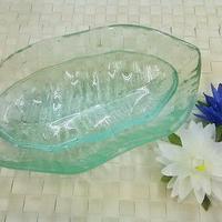 ガラス製 バナナリーフプレート 大小セット お皿