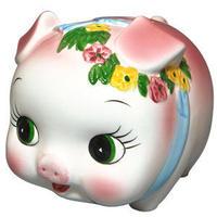 ぶたちゃん 貯金箱 陶器製 Piggy bank