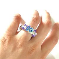 花と箔のリング/ブルー