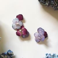 紫陽花のアシメイヤーカフ/ピアス/パープル
