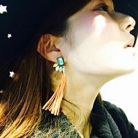 本革×ビジューフリンジピアス/イヤリング