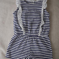 【carter's】Striped Dot Frill Romper
