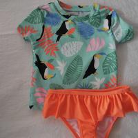 【carter's】Girl's  Toropical  Frill  Swim wear 2-piece
