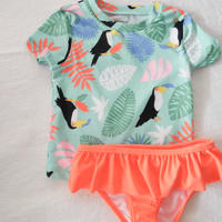 【carter's】Girl's  Toropical  Frill  Swim wear 2-piece