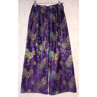 花柄 チャイナワイドパンツ/purple