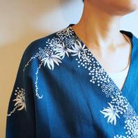 リネン羽織り・ブルー・海中植物