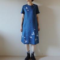 リネン・半袖ワンピース ブルー<白梅>