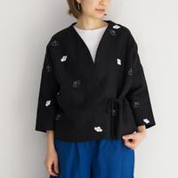 袷のショートジャケット黒 椿