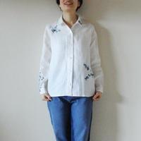 リネンシャツ白 <梅にうぐいす>