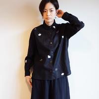 リネンシャツ黒 <椿>