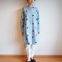 ロングシャツ ギンガムチェック・水色・ドット椿