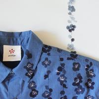 ギンガムチェックシャツ 枝垂れ梅
