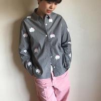 ギンガムチェックシャツ黒 <桃と真向き兎>