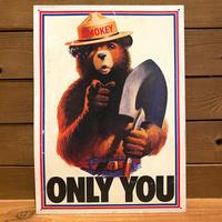 SMOKEY BEAR Tin Sign/スモーキーベア 看板/200118-4