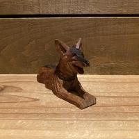木彫りの犬 置物/200408-5