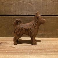 木彫りの犬 置物/200408-3