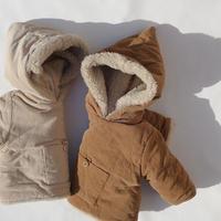 《数量限定 / 今週お届け分ご予約受付中》Pygmy coat / モコモコ素材 / フード付き / コーデュロイ / ベージュ / キャラメル / ベビー / キッズ / 秋冬